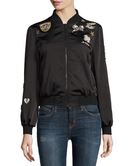 Mercer Embellished-Patch Bomber Jacket, Black