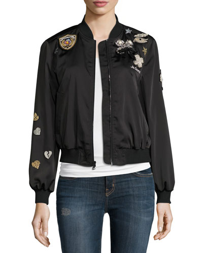 Mercer Embellished-Patch Bomber Jacket, Black