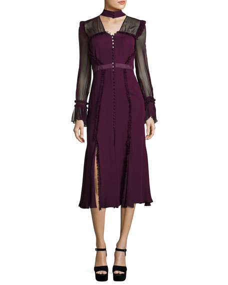 Senna Silk Button-Front Midi Dress, Plum