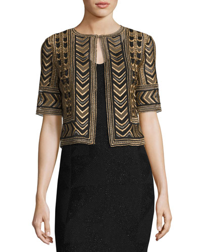 Priya Embroidered Cropped Jacket, Bronze