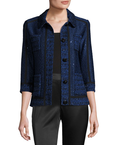 Khari Sequined Knit 3/4-Sleeve Jacket, Blue/White