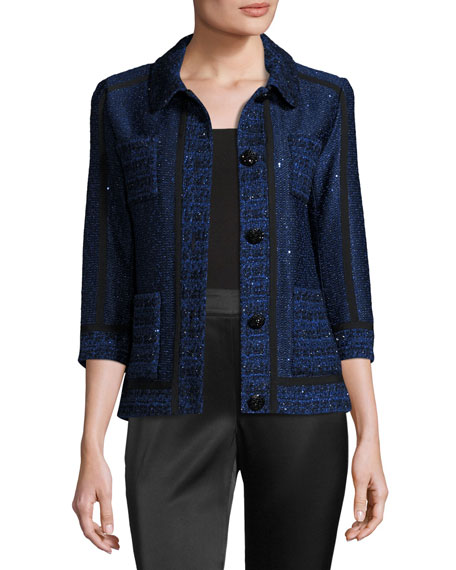 Khari Sequined Knit 3/4-Sleeve Jacket, Blue/White Best Reviews