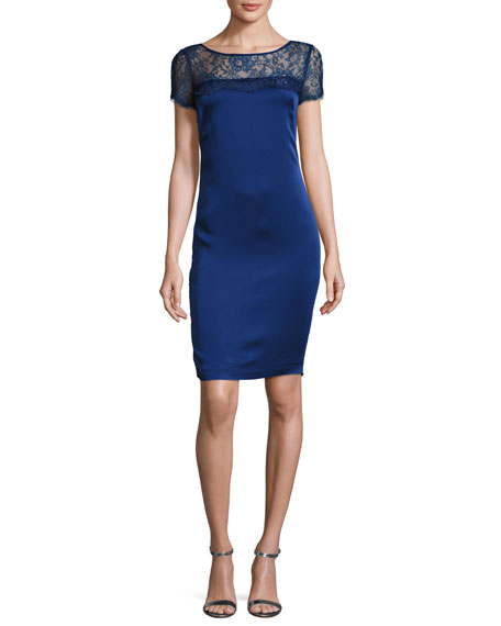 St. John Collection Lace-Yoke Luxe Satin Cap-Sleeve Dress,