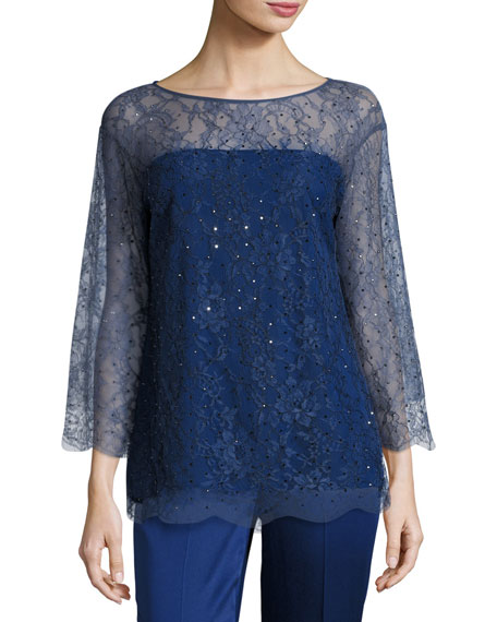 St. John Collection Chantilly Lace 3/4-Sleeve Tunic, Violet
