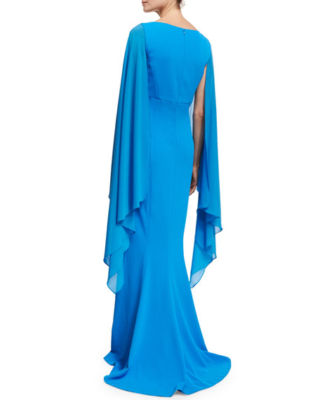 Classic Cady Cape-Sleeve Column Gown, Sky