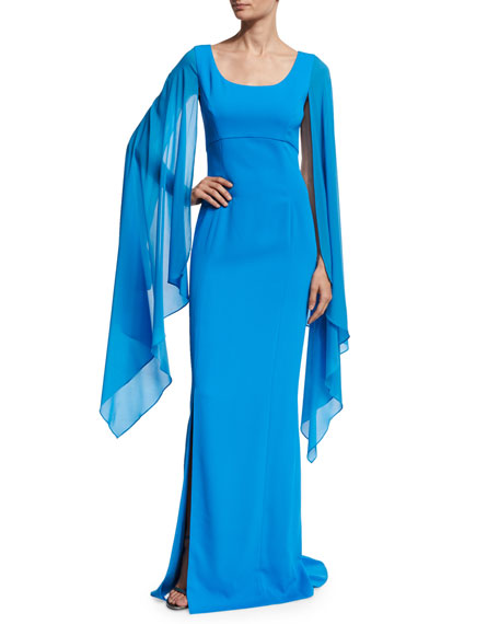 St. John Collection Classic Cady Cape-Sleeve Column Gown,