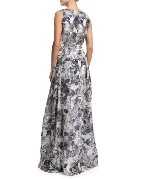 Metallic Etched Floral V-Neck Gown, Blue/Silver