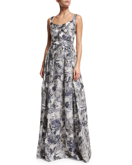 St. John Collection Metallic Etched Floral V-Neck Gown,
