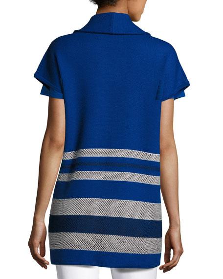 Textured Inlay Knit Shawl-Collar Jacket, Cobalt