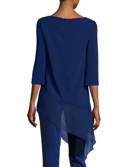Cady Asymmetric-Hem 3/4-Sleeve Top, Violet