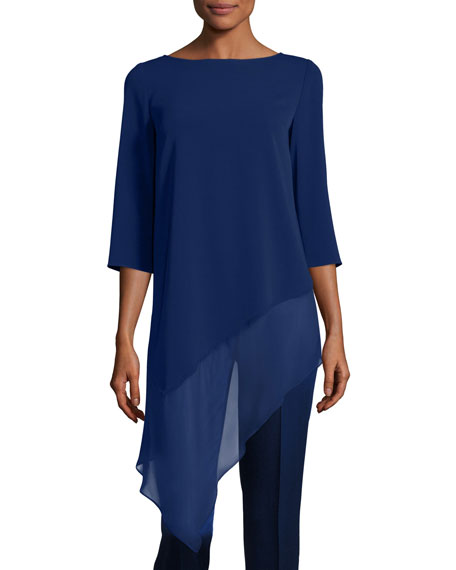 St. John Collection Cady Asymmetric-Hem 3/4-Sleeve Top, Violet