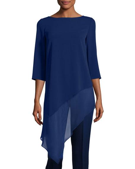 St. John Collection Cady Asymmetric-Hem 3/4-Sleeve Top, Violet