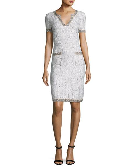 St. John Collection Kira Tweed V-Neck Short-Sleeve Dress,