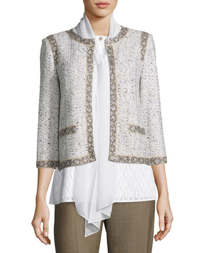 Kira Tweed 3/4-Sleeve Jacket, White/Multi