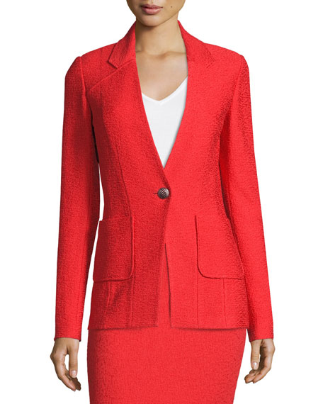 St. John Collection Clair Patch-Pocket Knit Jacket, Red
