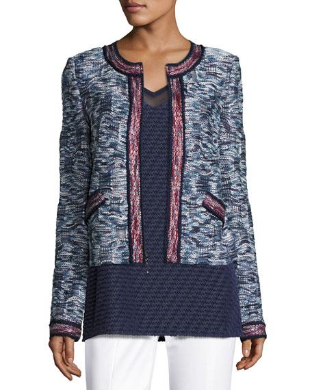 St. John Collection Asha Tweed Knit Zip-Front Jacket,