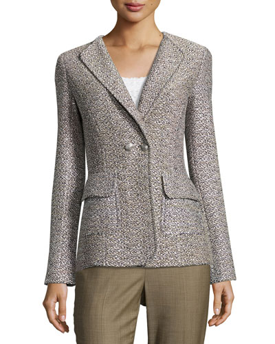 Aluna Tweed Double-Breasted Jacket, White Pattern
