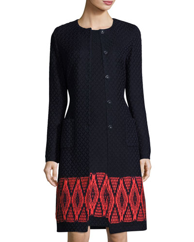 Baruti Knit Jewel-Neck Jacket, Blue/Red