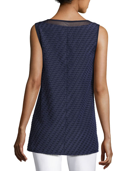 Textured Chevron-Stripe V-Neck Shell, Navy