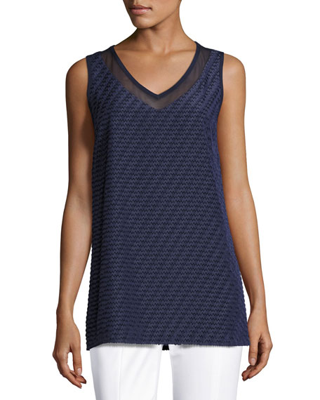 St. John Collection Textured Chevron-Stripe V-Neck Shell, Navy