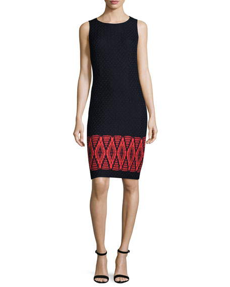 St. John Collection Baruti Knit Scoop-Neck Dress, Blue/Red