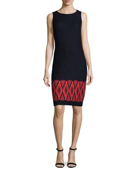 St. John Collection Baruti Knit Scoop-Neck Dress, Blue/Red