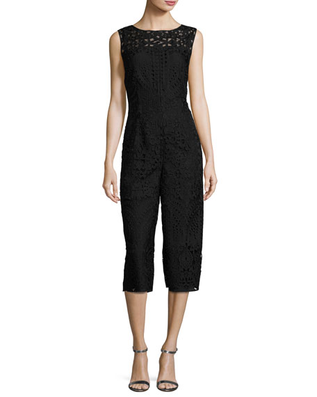 Embroidered Lace Cropped Jumpsuit, Black