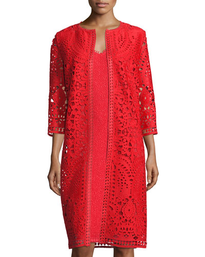 Embroidered-Trim 3/4-Sleeve Topper, Red