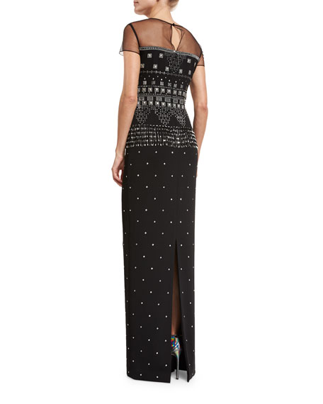 Beaded Short-Sleeve Illusion Gown, Black