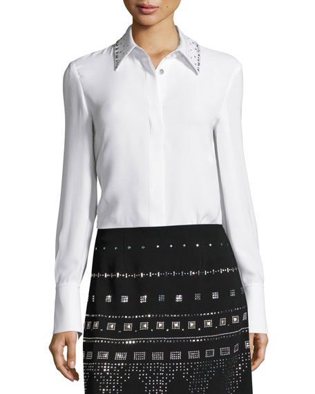 St. John Collection Heavy Georgette Sequined-Collar Blouse, White