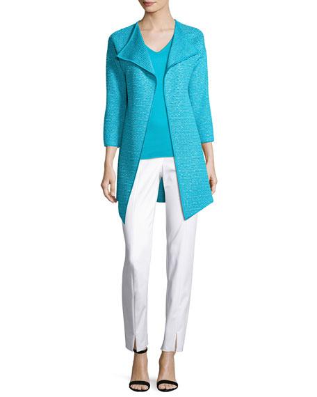 Hidden Lattice Knit 3/4-Sleeve Artisan Cardigan, Turquoise