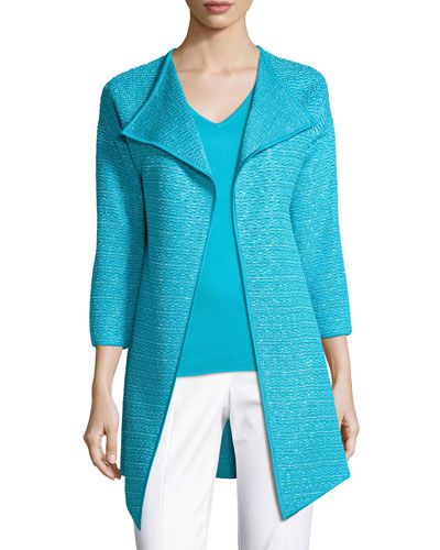 Hidden Lattice Knit 3/4-Sleeve Artisan Cardigan, Turquoise