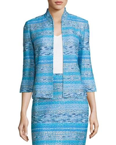 Imani Tweed Knit 3/4-Sleeve Jacket, Blue Pattern