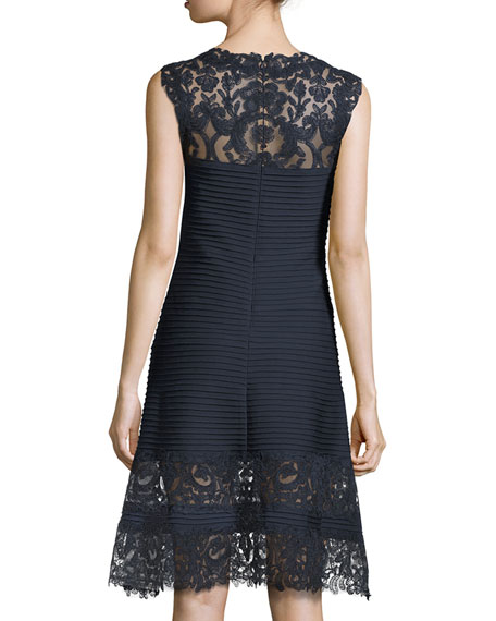 Sleeveless Lace-Trim Pintucked A-Line Dress, Blue