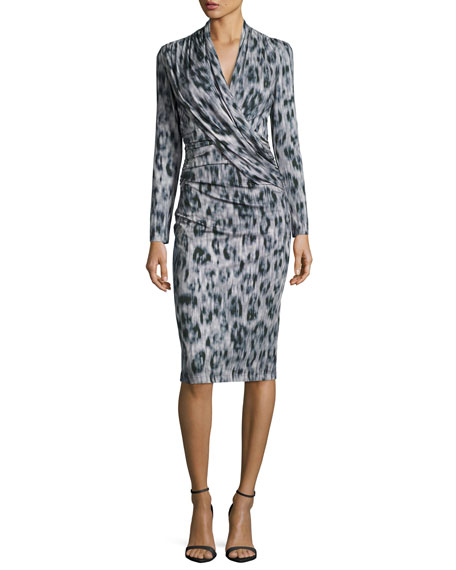 David Meister Long-Sleeve Ruched Leopard-Print Jersey Dress,