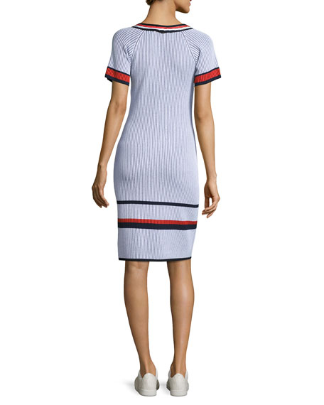 Two-Tone V-Neck Short-Sleeve Dress, White Pattern