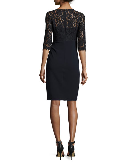 3/4-Sleeve Lace & Jersey Sheath Dress, Blue