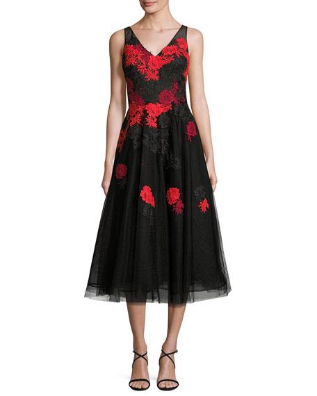 Rickie Freeman for Teri Jon Sleeveless Floral Tulle