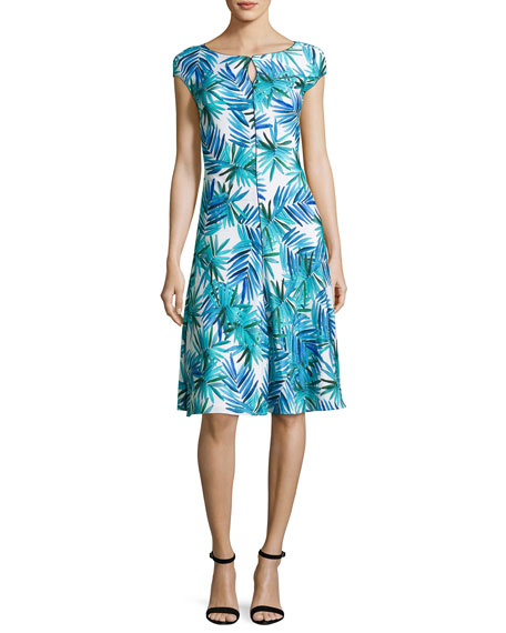 St. John Collection African Palm-Print Cap-Sleeve Dress, Blue