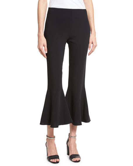 Zuri Cropped Kick-Flare Bell Pants, Black