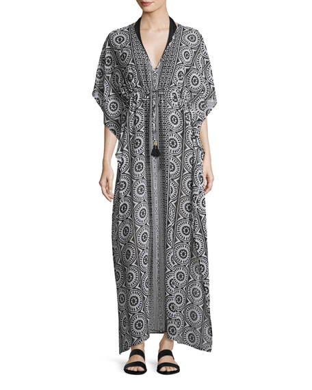 Tommy Bahama Geo Relief Maxi Caftan Coverup, Black