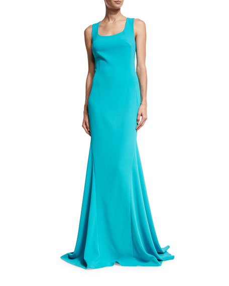 St. John Collection Crisscross-Back Sleeveless Gown, Turquoise