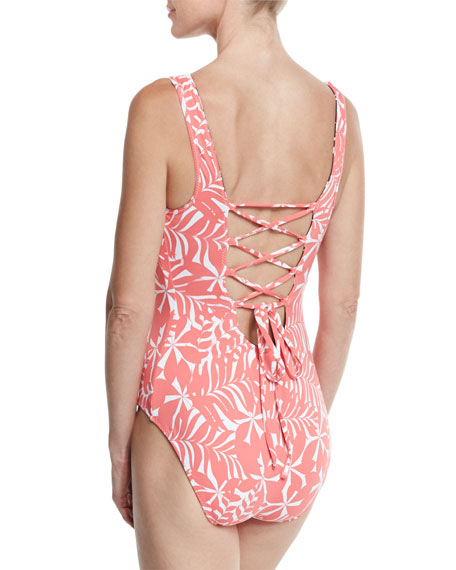 Pinwheel Palms Reversible Lace-Back One-Piece Swimsuit, Black