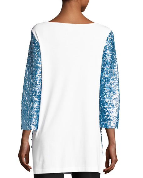 3/4-Sleeve Gradient Sequined Tunic, Petite