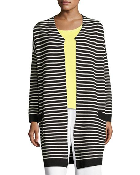 Striped Long Sweater Coat, Plus Size