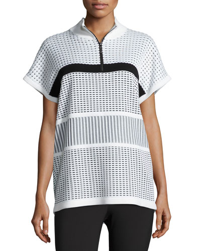 Two-Tone Illusion Grid Dolman-Sleeve Sweater, White/Black