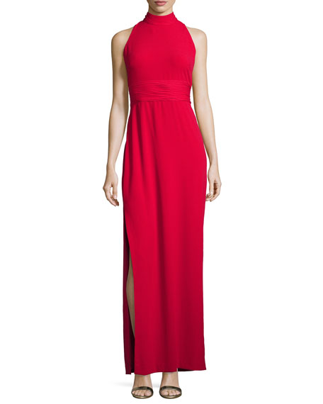 Aidan Mattox Sleeveless Silk-Trim Crepe Gown, Ruby
