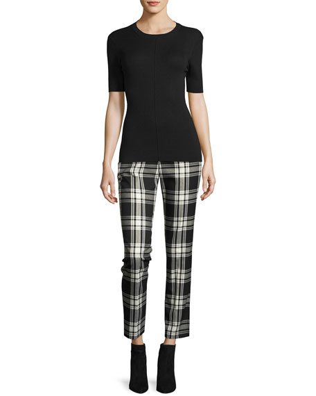 Aubree 2 Cropped Plaid Pants, Black/Silver
