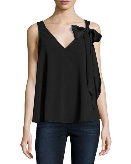Poetic Sleeveless Fluid Crepe Blouse, Black