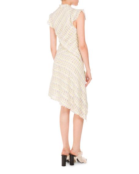 Plaid Boucle Asymmetric-Button Dress, Yellow/Gray